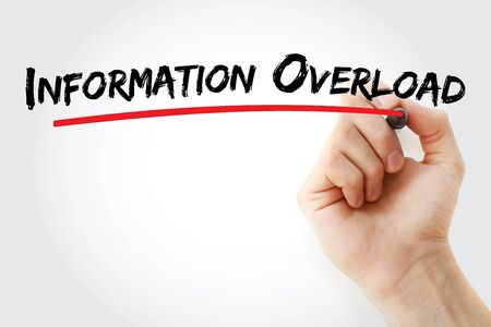 Information overload text with marker, concept background