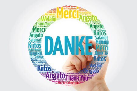 Danke (Thank You in German) word cloud background in different languages Imagens