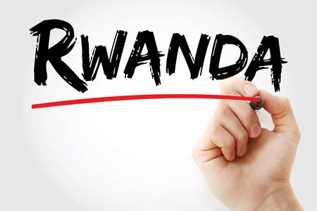 Rwanda text with marker, concept background