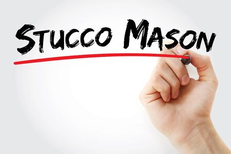 Stucco Mason text with marker, concept background