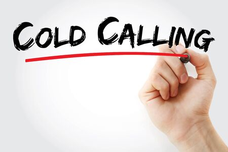 Cold calling text with marker, concept background