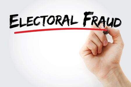 Electoral fraud text with marker, concept background