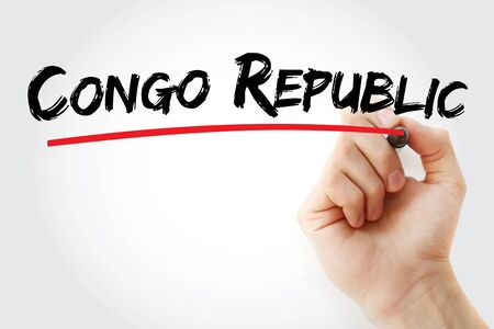 Congo republic text with marker, concept background