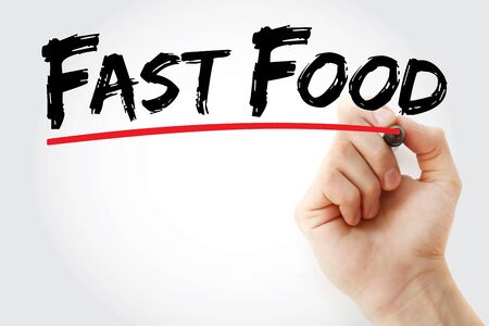 Fast food text with marker, concept background Stock Photo