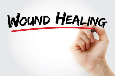 Wound Healing text with marker, concept background