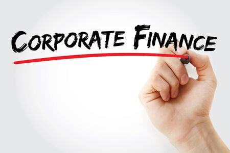 Corporate finance text with marker, concept background