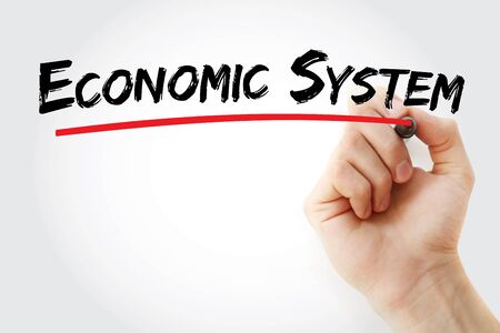 Economic system text with marker, concept background