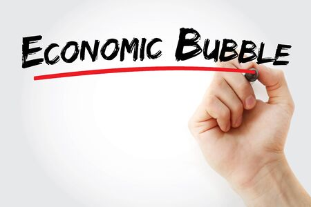Economic Bubble text with marker, concept background