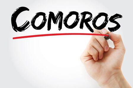 Comoros text with marker, concept background Banco de Imagens
