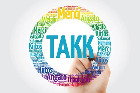 Takk (Thank You in Icelandic) Word Cloud in different languages
