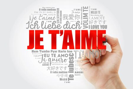 Je t'aime (I Love You in French) love heart word cloud in different languages of the world