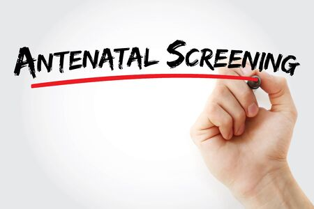 Antenatal Screening text with marker, concept background Stock Photo