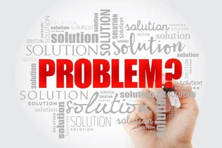 Collage de nuage de mots de problème et de solution, fond de concept d'entreprise