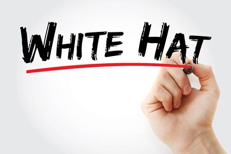White Hat text with marker, concept background Banco de Imagens