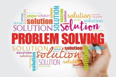 Problem solving aid word cloud collage, business concept background Banque d'images