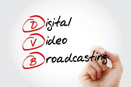 DVB - acronyme de diffusion vidéo numérique, arrière-plan de concept technologique