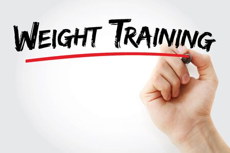 Weight training text with marker, concept background