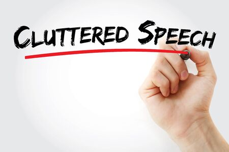 Cluttered Speech text with marker, concept background Stock Photo