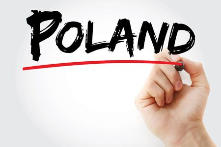 Poland text with marker, concept background