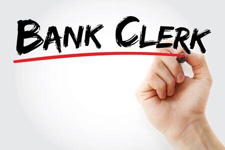 Bank Clerk text with marker, concept background Banco de Imagens