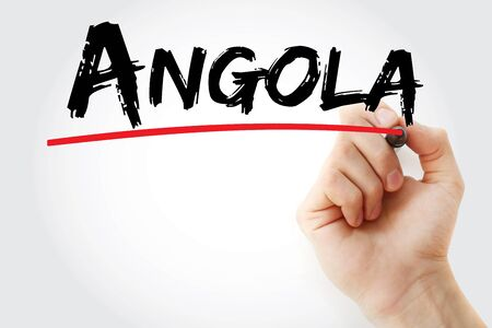 Angola text with marker, concept background Banco de Imagens