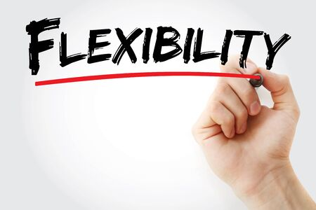 Flexibility text with marker, concept background