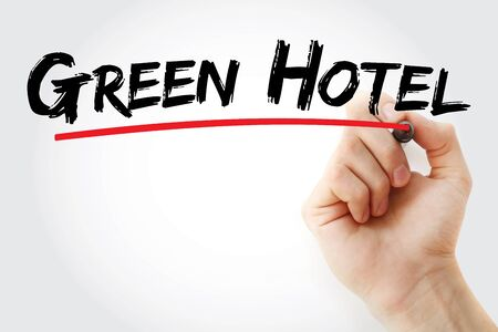 Green Hotel text with marker, concept background Stock Photo