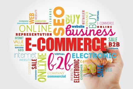 E-COMMERCE word cloud collage, business concept background