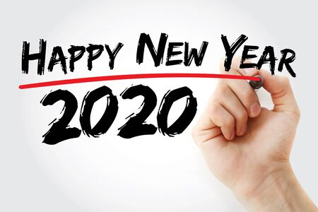 Happy new year 2020 with marker, concept background