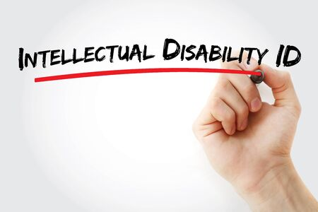Intellectual disability ID text with marker, concept background