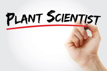 Plant scientist text with marker, concept background