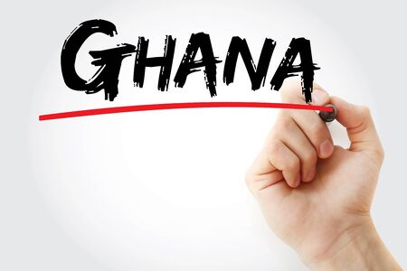 Ghana text with marker, concept background Фото со стока