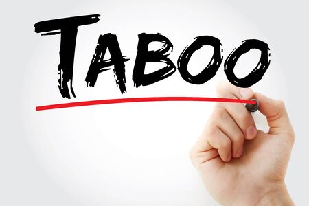 Taboo text with marker, concept background