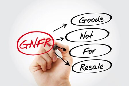 Hand writing GNFR - Goods Not For Resale with marker, acronym business concept Zdjęcie Seryjne