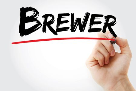Brewer text with marker, concept background