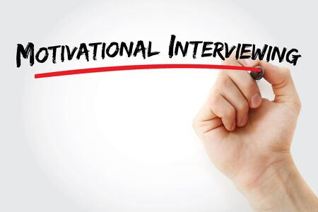 Motivational interviewing text with marker, concept background