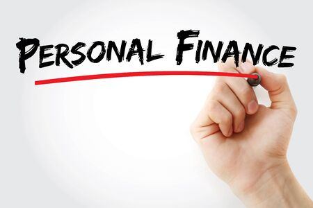 Personal Finance text with marker, concept background