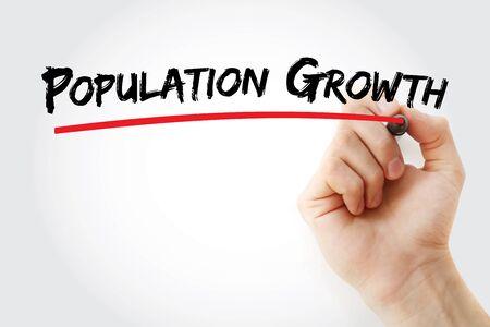 texto de crecimiento de la población con marcador, fondo del concepto
