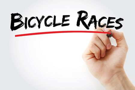 Bicycle Races text with marker, concept background Banco de Imagens