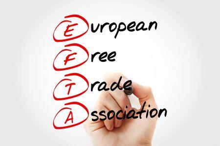 EFTA - European Free Trade Association acronym, business concept background Foto de archivo