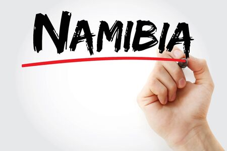 Namibia text with marker, concept background Foto de archivo