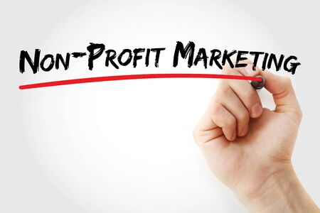 Non-profit Marketing text with marker, concept background