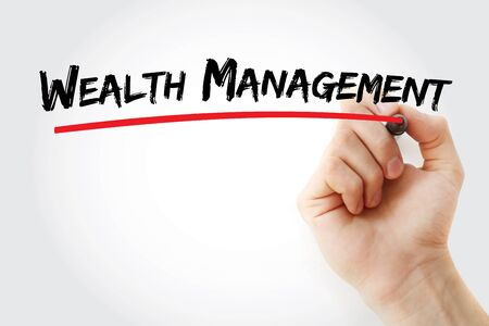 Wealth management text with marker, concept background
