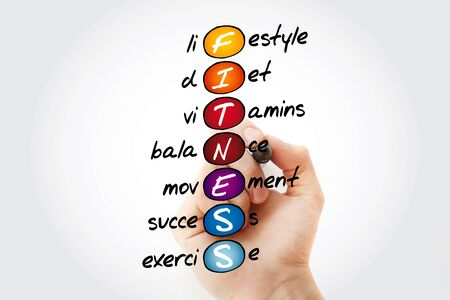 FITNESS - Lifestyle diet vitamins balance movement success exercise acronym, health concept background Zdjęcie Seryjne