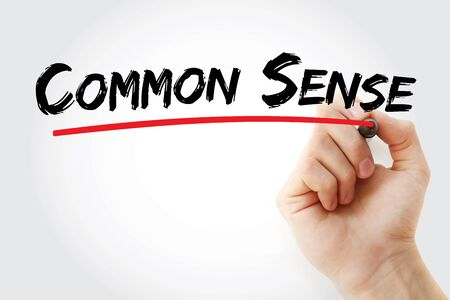 Common sense text with marker, concept background