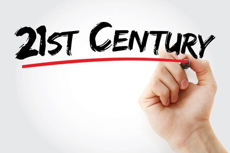 21st Century text with marker, concept background