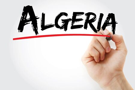 Algeria text with marker, concept background