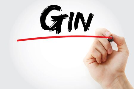 Gin text with marker, concept background Stock fotó