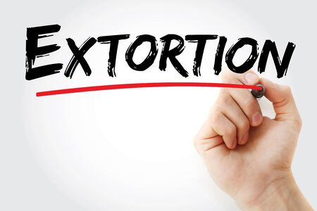 Extortion text with marker, concept background