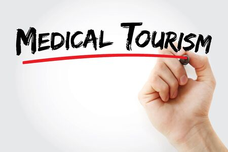 Medical Tourism text with marker, concept background